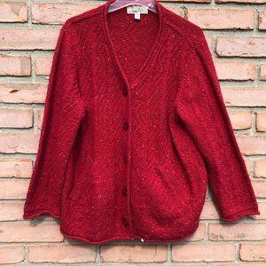 CABELA'S Red Cardigan Sweater XL